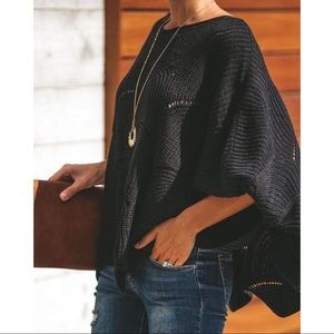 Black scallop hem sweater dolman sleeve Sweater
